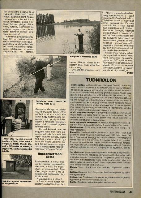 """A """"SPORTHORGÁSZ"""" cikke 1998 / 08. szám, """"VÍZTÜKÖR"""" rovat!"""
